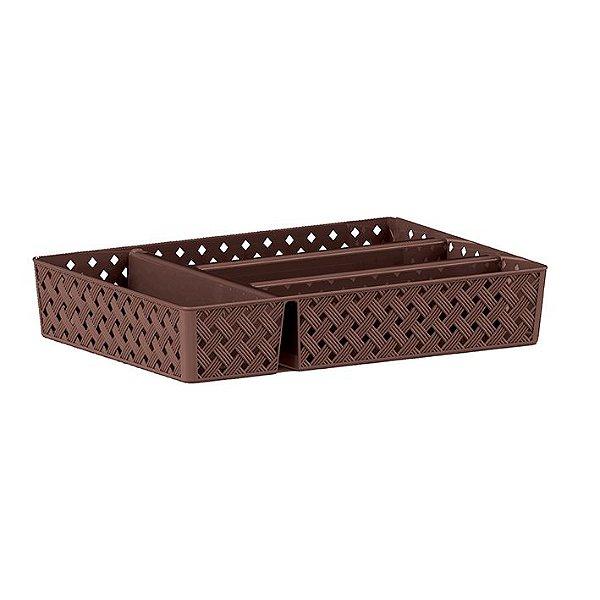Porta Talheres Rattan Chocolate