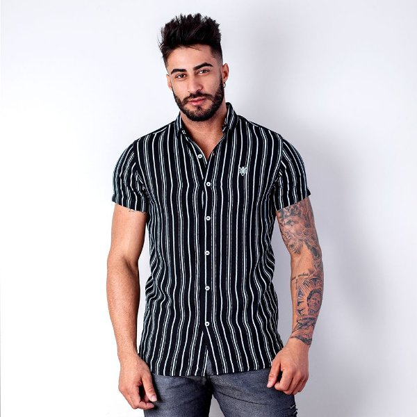 CAMISA VISCOSE MANGA CURTA WHITE STRIPES