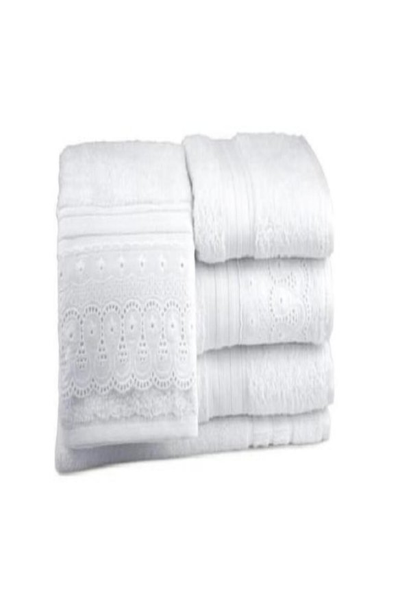 Jogo Banhao Renascenca Alg Egipcio 5 Pecas Bouton Branco