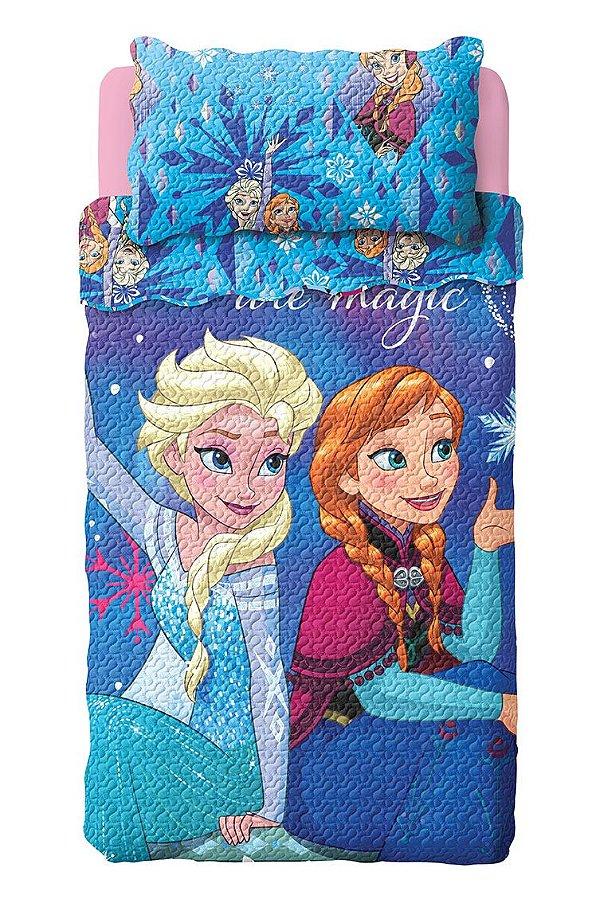 Kit Colcha Bouti Frozen Lepper c/ porta travesseiro