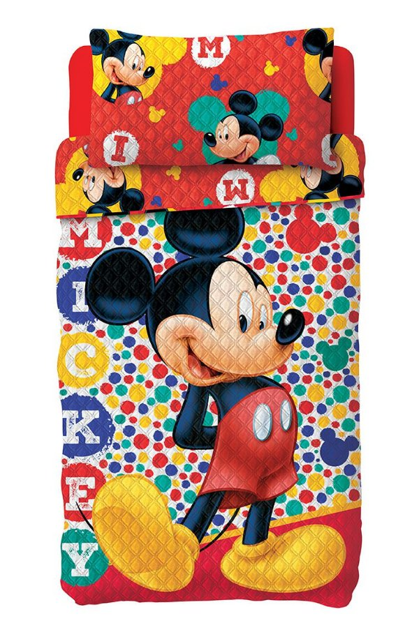 Kit Colcha Bouti Mickey Lepper c/ porta travesseiro
