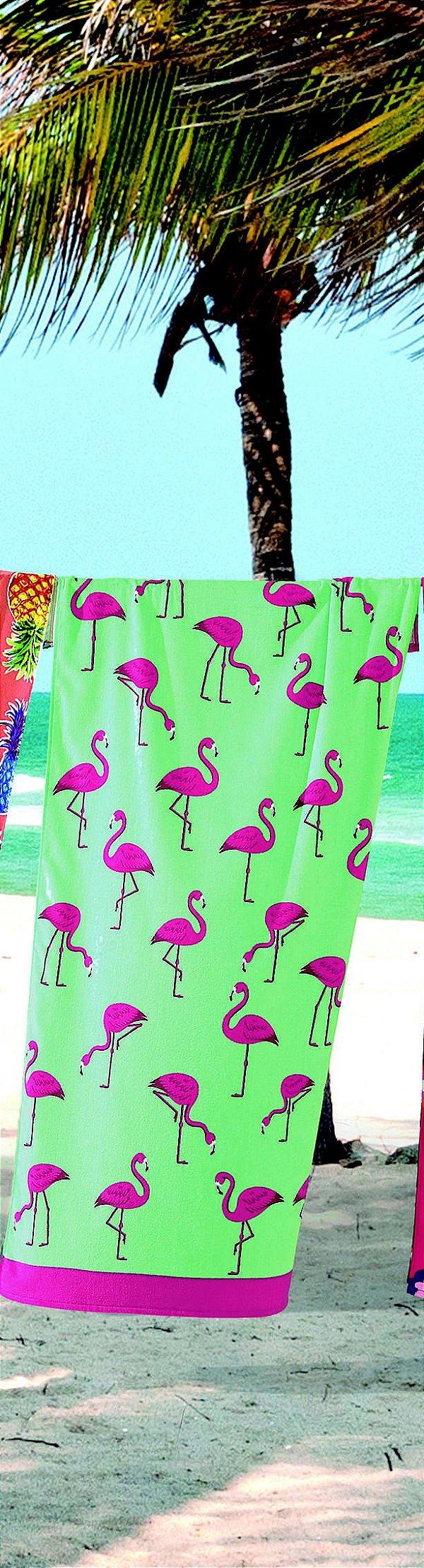 Toalha Banho Dohler Aveludada Flamingos