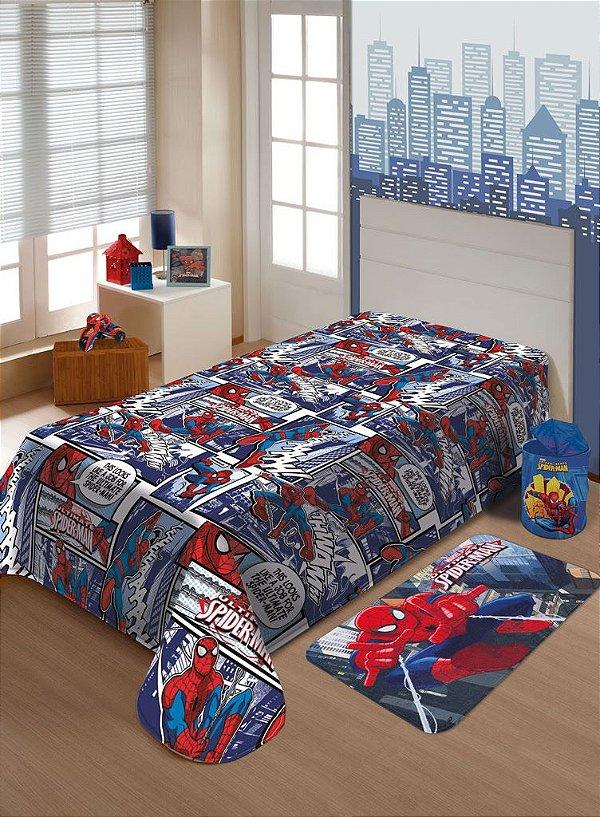 Manta Solteiro Soft Spider man Jolitex Homem Aranha