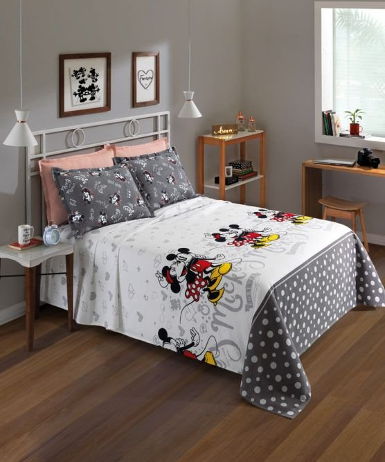 Kit Colcha Queen Disney Mickey e Minnie