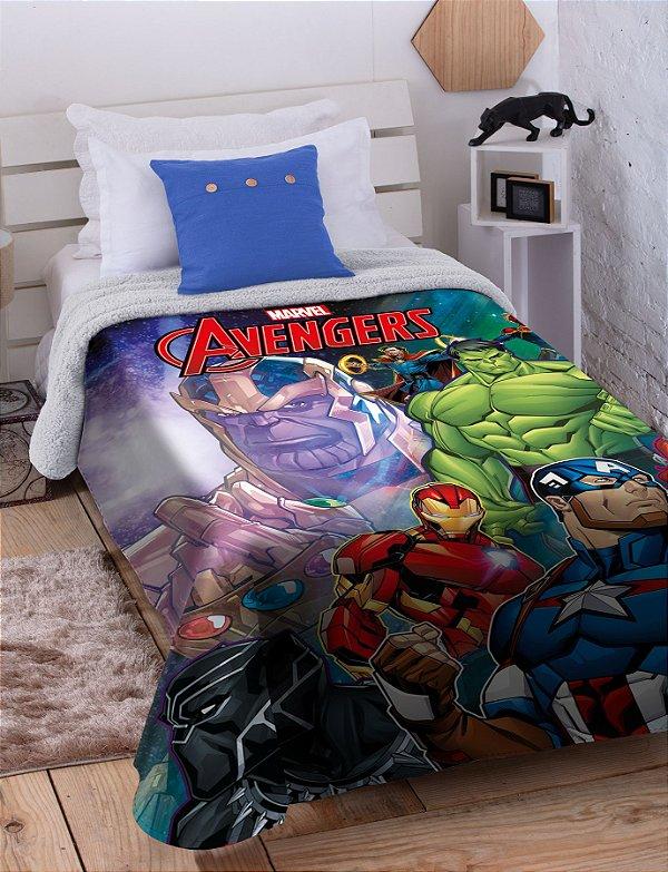 Cobertor Solteiro Avengers HD Digital Sherpa Jolitex