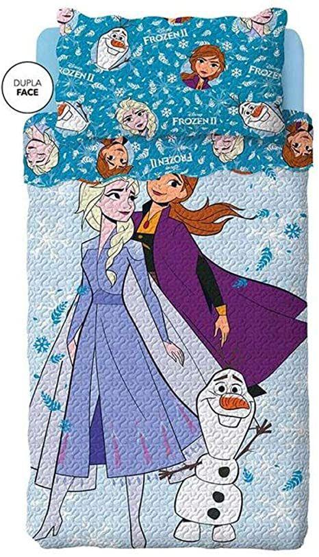 Kit Colcha Bouti Frozen II Lepper c/ porta travesseiro