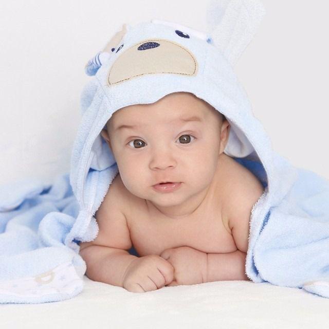Toalha Banho Com Capuz Sofisticata Baby Príncipe Azul