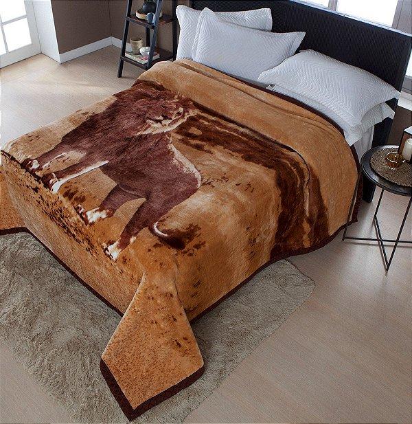 Cobertor Casal Raschel Plus Leão Aveludado Jolitex