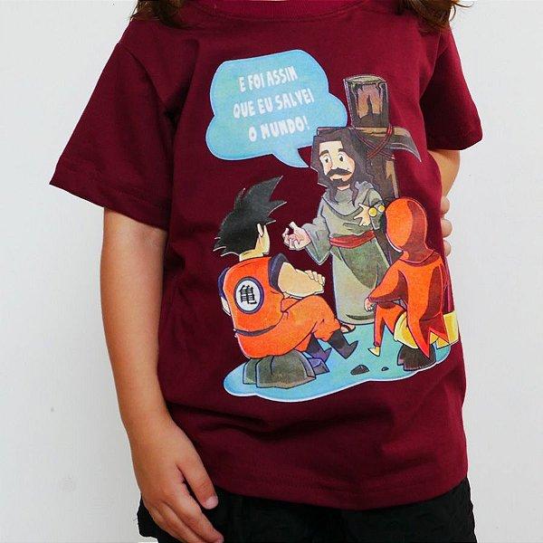 Camiseta Infantil - Jesus Salvador Bordô