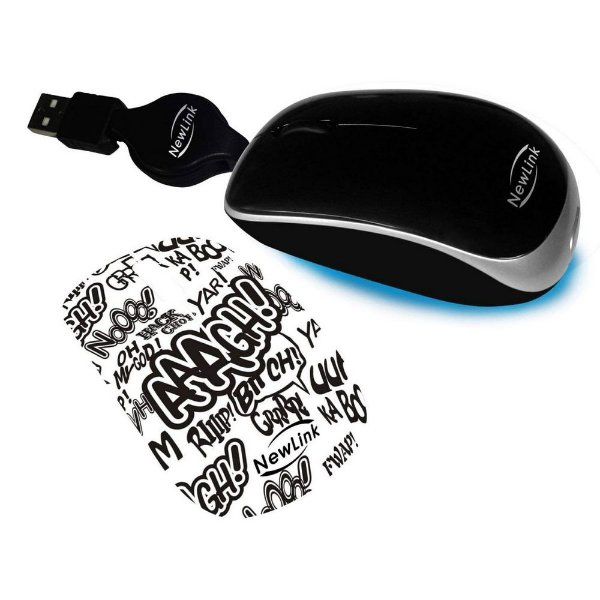MOUSE MINI USB RETRATIL SHINY PRETO, OEX MO208C