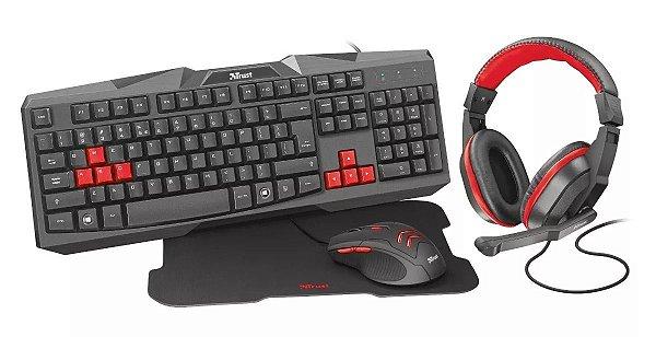 TECLADO + MOUSE USB + MOUSE PAD + FONE, GAMER C/FIO PRETO, TRUST T22428