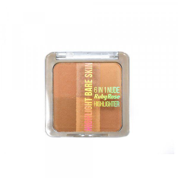 Pó Iluminador Ruby Rose Bare Skin 6 em 1 HB-7214 Cor 3