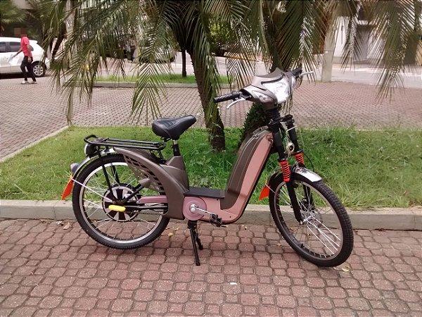 Bicicleta Elétrica Motorizada 350W  - Marrom Metálico