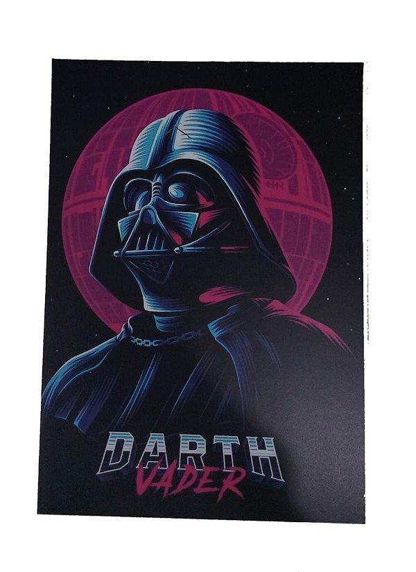 Placa Decorativa / Quadro Em Mdf Star Wars Darth Vader Roxo Com Preto