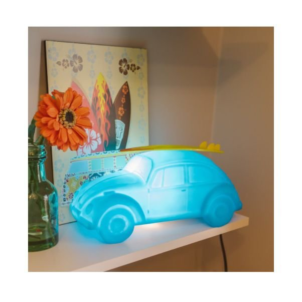 Luminária De Fusca Azul Com Prancha - Decoração