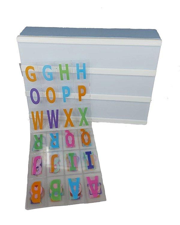 Luminária Quadro Light Box De Led A5 Azul C/ 96 Letras Números Coloridos