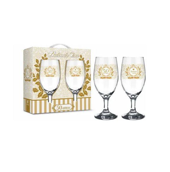 Conjunto 2 Taças Windsor De Bodas De Ouro - 50 Anos