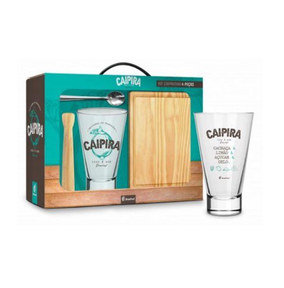 Kit P/ Caipirinha Caipiroska Copo Grande Caipira - C/ Tábua Colher Socador Madeira