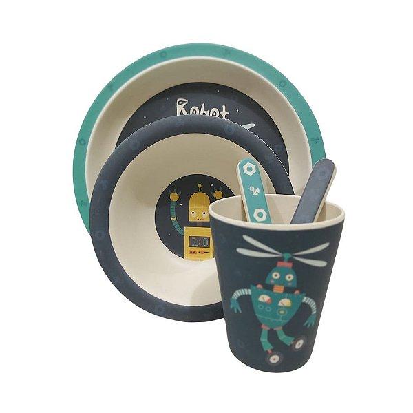 Conjunto Prato Talher Copo Refeição Infantil Bambu Eco 5pçs - Robot