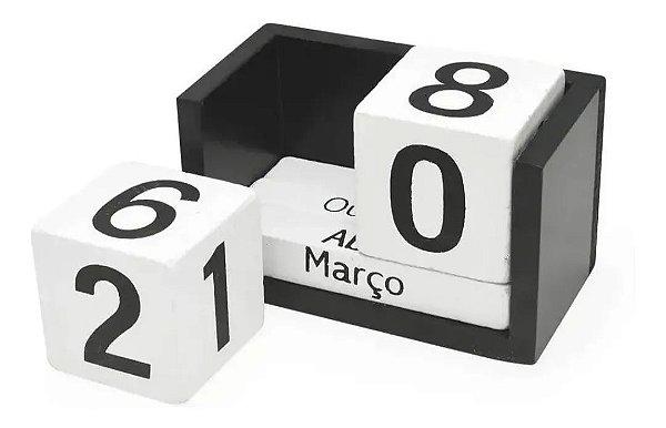 Calendário Permanente De Madeira P/ Mesa Home Office Preto E Branco