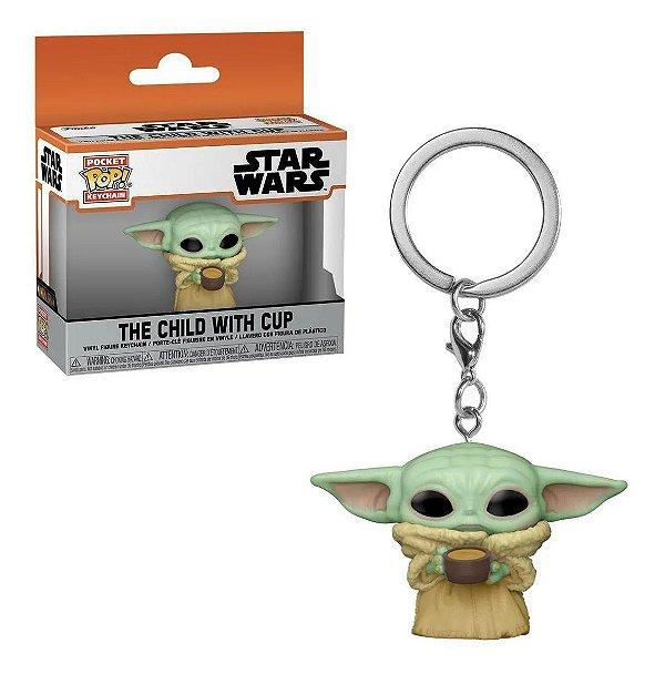 Chaveiro Funko Pop Star Wars Boneco Baby Yoda The Child With Cup