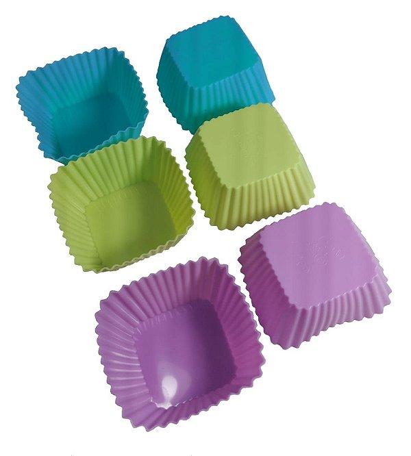 Kit 6 Forminhas Silicone Cupcake Muffim Mini Bolo Quadrada Q