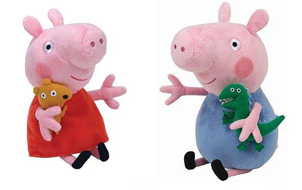 Kit Com 2 Pelúcias Peppa Pig Vestido Vermelho E George Dtc Antialérgicos