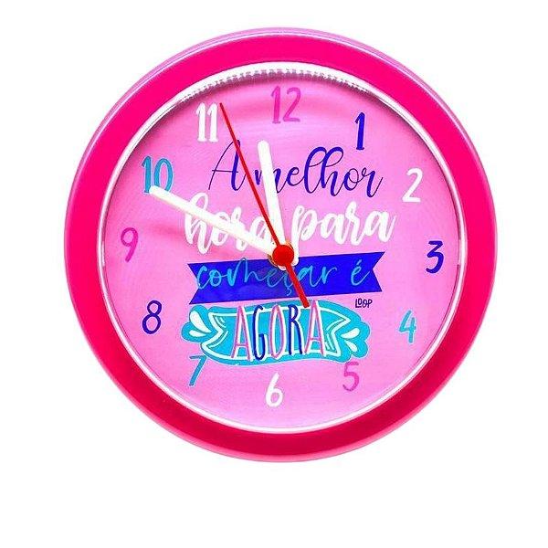 Relógio De Parede Analógico Rosa - A Melhor Hora P/ Começar É Agora