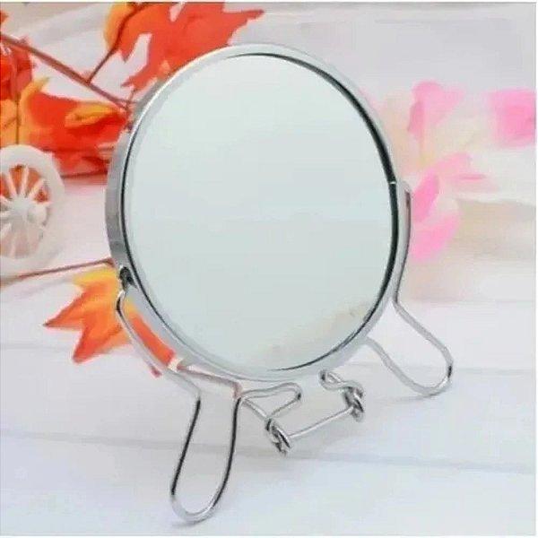 Espelho De Mesa Dupla Face C/ Aumento Aramado P/ Maquiagem Sobrancelha
