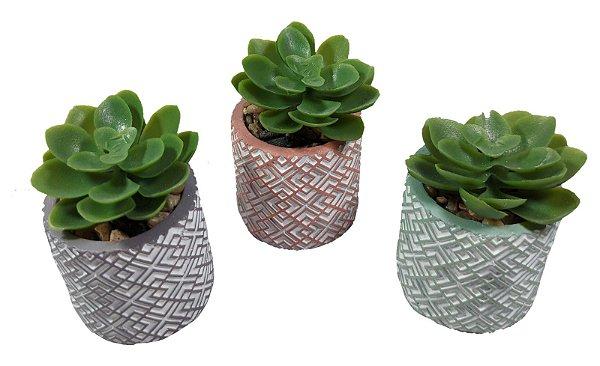 Suculenta Artificial C/ Vasinho Cimento Colorido - Vaso
