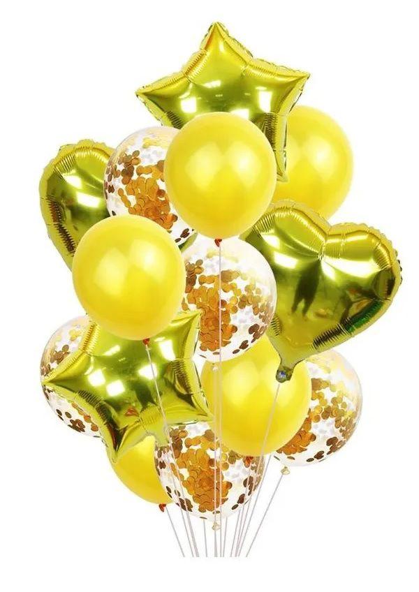 Balão Bexiga Metalizado 10 Peças Estrela Coração Dourado