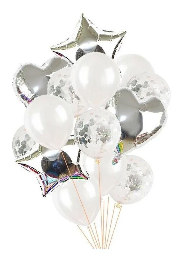 Balão Bexiga Metalizado 10 Peças Estrela Coração Prata
