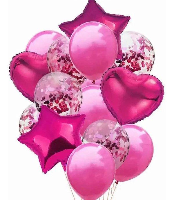 Balão Bexiga Metalizado 10 Peças Estrela Coração Rosa Pink