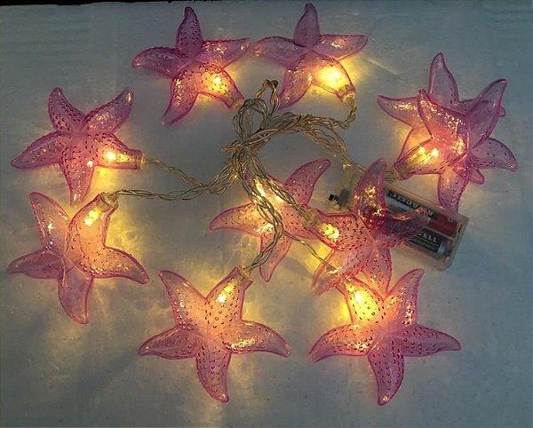 Cordão Fio De Luz Led 10 Estrela Do Mar Lilas