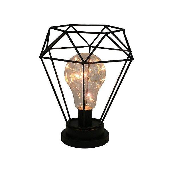 Abajur Luminária Aramado Diamante Com Lâmpada Led