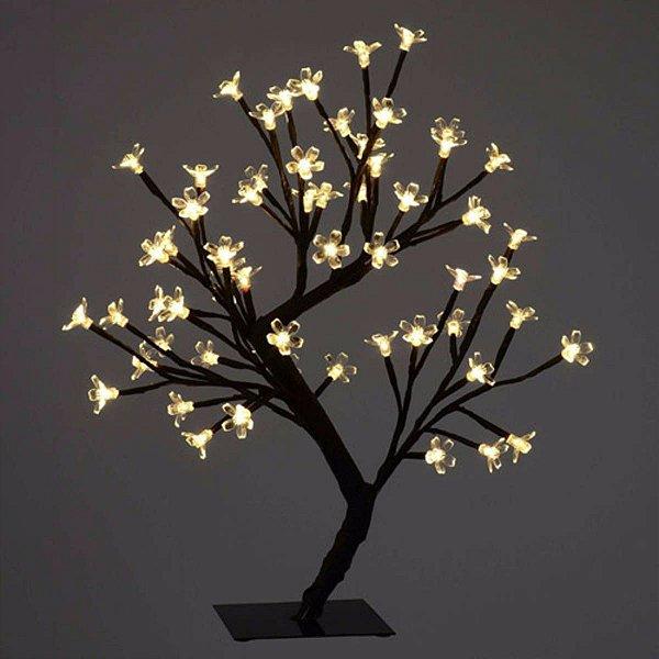 Luminária Árvore Flor De Cerejeira 48 Leds Abajur Bivolt - BRANCO QUENTE