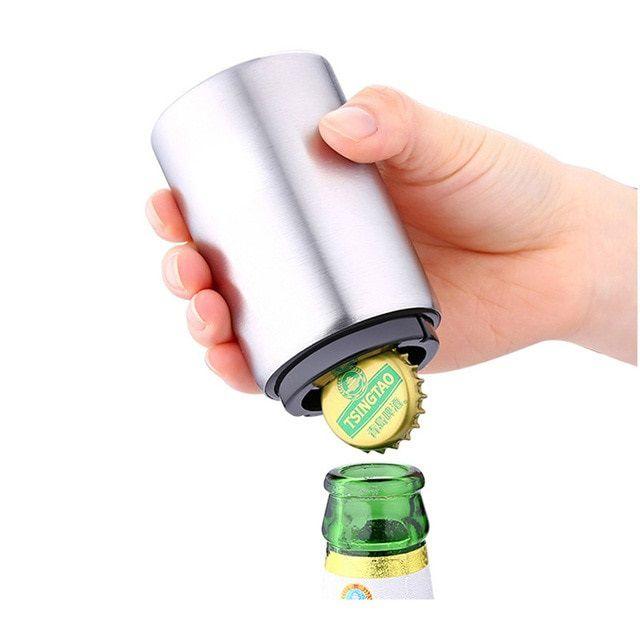 Abridor De Cerveja De Garrafa Automático Em Inox - Magnético