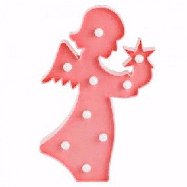 Luminária Led Anjinho Anjo Abajur Leds Decoração Rosa