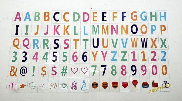 96 Caracteres / Letras Coloridas P/ Luminária Letreiro Cinema Light box A4 - Cartela