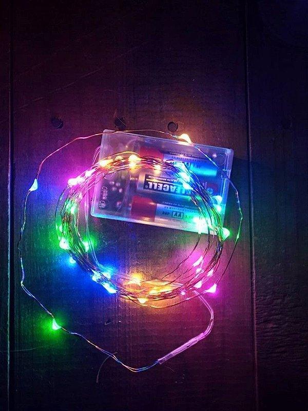 Fio Fada Prata Cobre Colorido Luz Cores Natal 5m 50 Leds Pilha Festa Decoração
