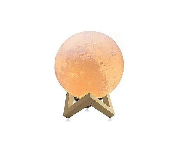 Luminária Lua Cheia 10 cm 3d Abajur Led Relevo - Branco Quente (Amarelo)