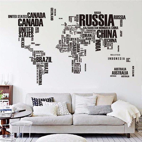 Adesivo De Parede Mapa Mundi 122 X 74 Com Com Letras