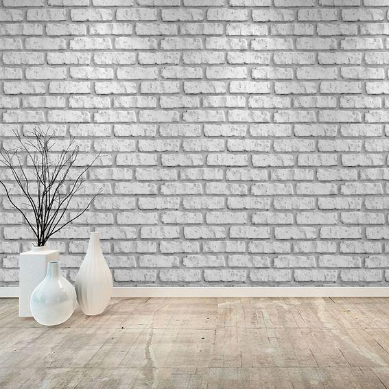 Papel De Parede De Tijolinho Branco Autoadesivo - 0,45x10 Metros