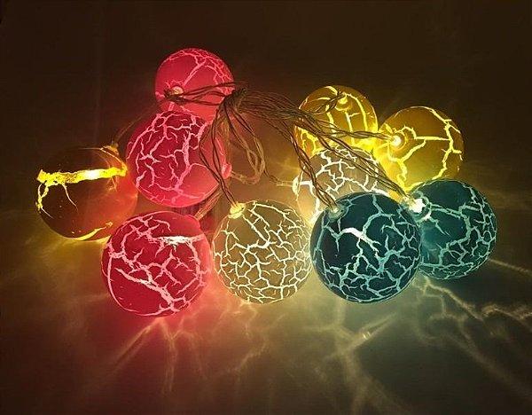 Cordão Bola Led Luminoso Craquelada Pintada Varal Fio De Luz Colorido