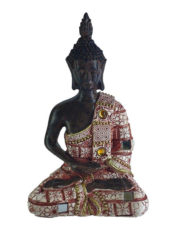 Buda Hindu Estatua Resina Decoração 14,5cm  Marron-Vermelho