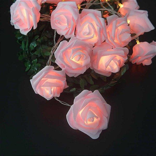 Cordão Luminoso Flor 10 Rosas De Led A Pilha - Branco Quente