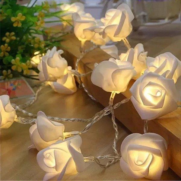 Cordão Luminoso Flor 10 Rosas Led Pilha Branco Quente