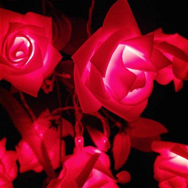 Cordão Luminoso Flor 10 Rosas Vermelhas Led Pilha Branco Quente