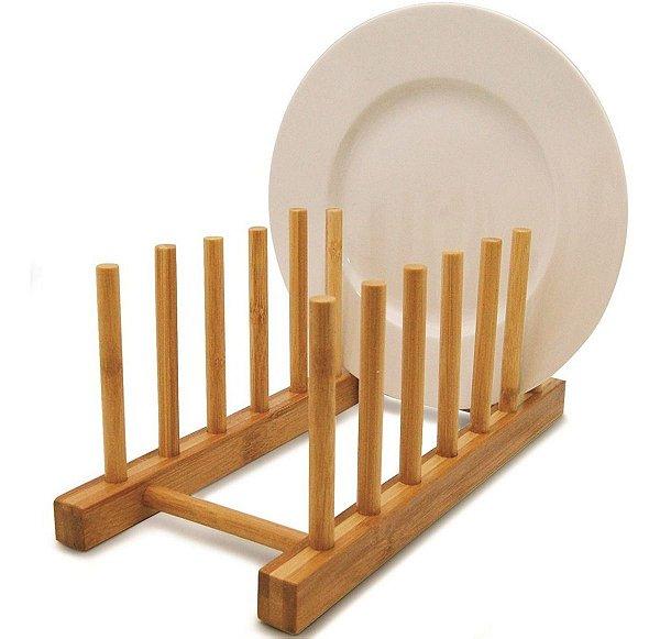 Suporte Display Porta 6 Pratos Bambu Para Bancada De Cozinha