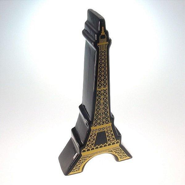 Torre Eiffel 30cm Em Cerâmica Preta Amarela P/ Decoração